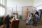 Filming in a studio of Valentin Sidorov.